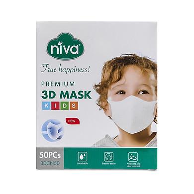 Hộp 50 chiếc khẩu trang Niva 3D Trẻ em 1-6 tuổi