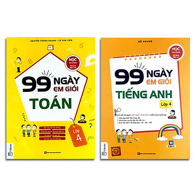 Combo 2 cuốn: 99 ngày em giỏi tiếng anh lớp 4 + 99 ngày em giỏi toán lớp 4