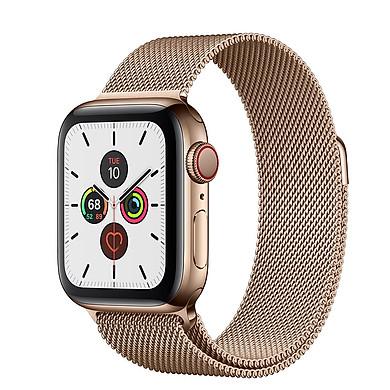 Đồng Hồ Thông Minh Apple Watch Series 5 LTE GPS + Cellular Stainless Steel Case With Milanese Loop (Viền Thép & Dây Thép) - Nhập Khẩu Chính Hãng