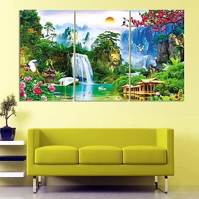 tranh treo tường 3D_3 bộ 3 tấm thác nước
