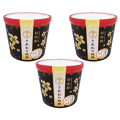 Combo 3 hộp 180 bông ngoáy tai cao cấp cho người lớn nội địa Nhật Bản - Tặng lưới rửa mặt tạo bọt