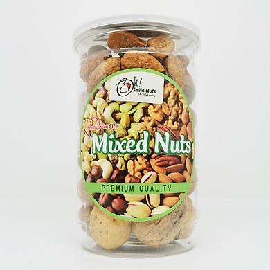 Hộp 400g Mix 3 loại hạt Smile Nuts (Macca, Óc Chó, Hạnh Nhân rang bơ)
