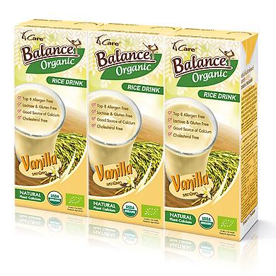 Lốc 3 hộp sữa gạo hữu cơ vị vani giàu canxi 4CARE BALANCE ORGANIC 180ml