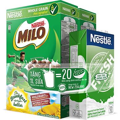 2 Hộp Ngũ Cốc Ăn Sáng Milo 330g Tặng 1 Hộp Fresh Milk 1L