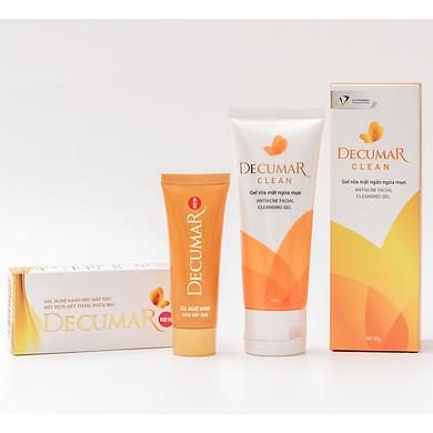 Bộ sản phẩm trị mụn Decumar New (gồm 1 Gel bôi mụn Decumar New và 1 Gel rửa mặt ngừa mụn Decumar Clean 50g)