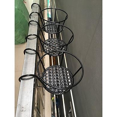 set 3 kệ để hoa ban công có móc treo bằng sắt - mầu đen