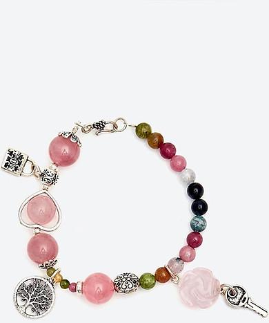 Vòng tay thạch anh hồng mix tourmaline đa sắc phối chìa khóa bạc Ngọc Quý Gemstones