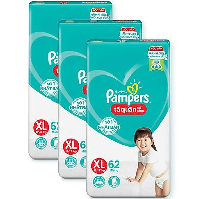 Combo 3 Tã quần Pampers giữ dáng cực đại XL62 - Size XL (62 Miếng x 3 Gói)