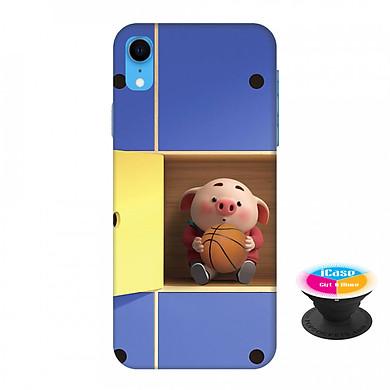Ốp lưng nhựa dẻo dành cho iPhone XR in hình Heo Con Chơi Bóng Rổ - Tặng Popsocket in logo iCase - Hàng Chính Hãng