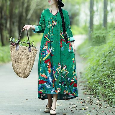Váy Maxi Vintage Họa Tiết Tương Phản Oversize