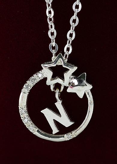 Dây chuyền bạc nữ mặt trăng sao khắc tên chữ N DCN0286 - Trang Sức TNJ