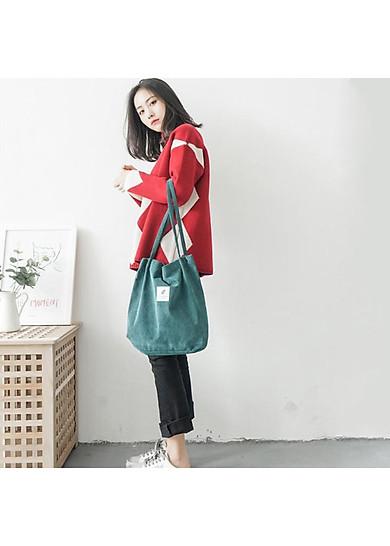 Túi Tote Đeo Vai Hàn Quốc Vải Canvas Nhung Mềm Dễ Sử Dụng Phù Hợp Với Học Sinh ,Sinh Viên,Dân Văn Phòng