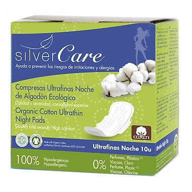 Băng vệ sinh hữu cơ ban đêm có cánh Silvercare (10 miếng)