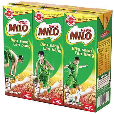 Lốc 3 Hộp Sữa Nestlé Milo Bữa Sáng (195ml/Hộp)