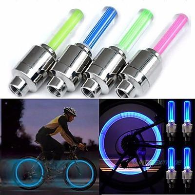 Bộ 2 Đèn led gắn van xe đạp xe máy hình trụ siêu sáng nhiều màu cực chất