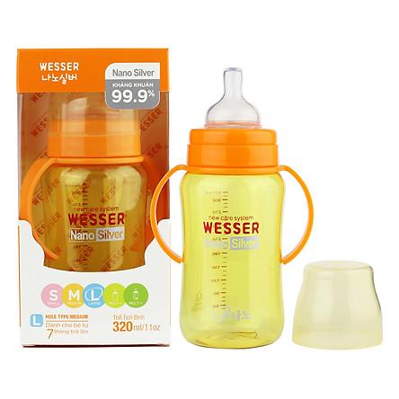 Bình Sữa Wesser Nano Silver Cổ Rộng (320ml) - Vàng