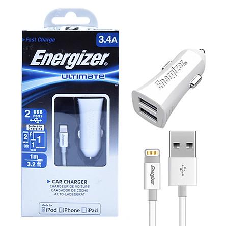 Bộ Sạc Xe Hơi Energizer Lightning 2 Cổng 3.4A DCA2CULI3 - Hàng Chính Hãng