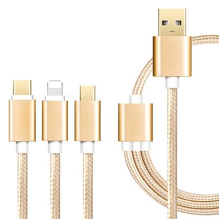Cáp Sạc Đa Năng 3 in 1 Cho Lighting/ Micro/ USB Type C (Vàng Hồng)