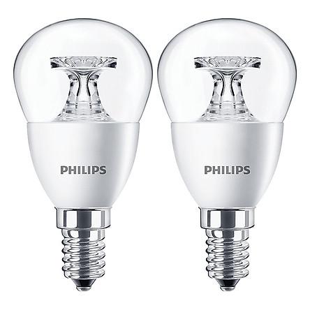 Bộ 2 Bóng Đèn Philips LED Nến 4W 2700K E14 P45 - Ánh Sáng Vàng - Hàng Chính Hãng