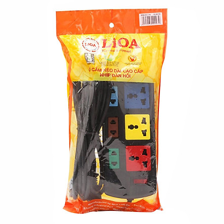 Ổ Cắm Điện 3D + 3S Dây 5m x 2 Lioa 3D3S52 - Đen
