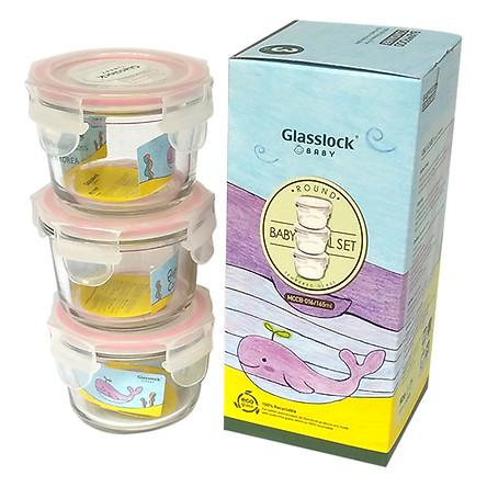 Bộ 3 Hộp Thủy Tinh Tròn Glasslock GL545 (165ml x 3)