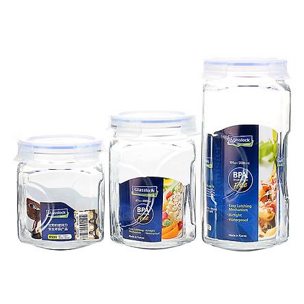 Bộ 3 Hũ Thủy Tinh Glasslock IG535 (1500 + 2000 + 3000 ml)