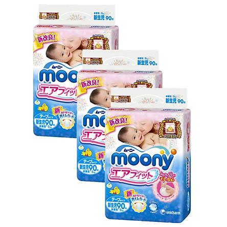 Combo 3 Gói Miếng Lót Sơ Sinh Moony Gói Cực Đại Newborn (90 miếng)