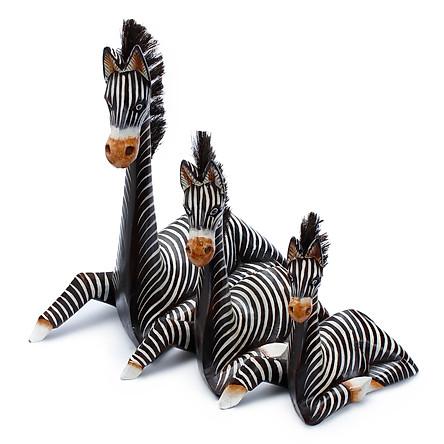 Bộ 3 Ngựa Vằn Nằm Trang Trí
