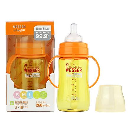 Bình Sữa Wesser Nano Silver Cổ Rộng Có Ống (260ml)  - Vàng
