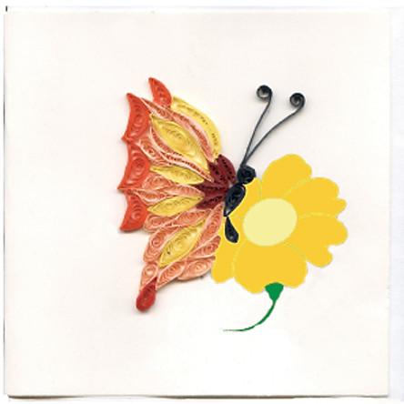 Thiệp Giấy Xoắn Việt Net - Bướm Mẫu 1 (10 x 10 cm)