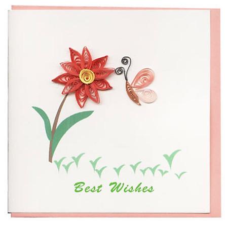 Thiệp Best Wishes Việt Net - Hoa Và Bướm (10 x 10 cm)