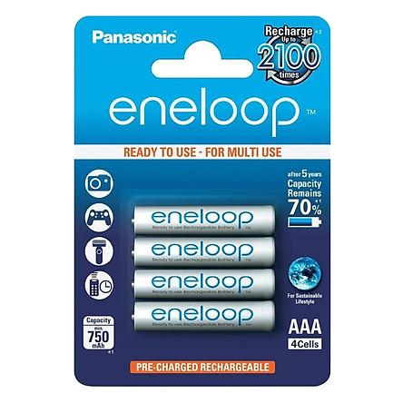 Pin AAA Panasonic Eneloop 4 Viên 750mAh 2100 Lần Sạc (Bản Nội Địa Nhật Bản) - Hàng Nhập Khẩu