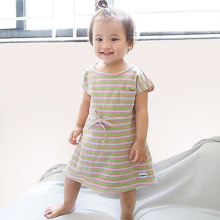 Đầm Kẻ Sọc Thắt Nơ Eo Pink C3031 Tini