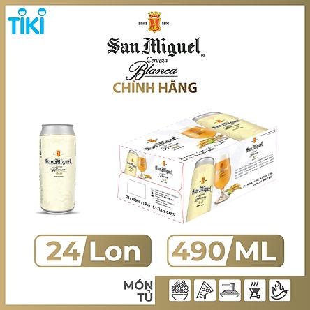 Thùng 24 lon Bia Lúa Mì Trắng San Miguel Cerveza Blanca Lon 490 ml