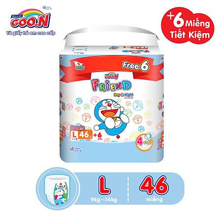 Tã Quần Goon Friend Doremon Mới Gói Cực Đại L46 (9kg ~ 14kg) + tặng thêm 6 miếng tiết kiệm hơn (Pack mới)