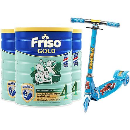 Bộ 3 Lon Sữa Bột Friso Gold 4 Cho Trẻ Từ 2-4 Tuổi 1.5kg + Tặng xe trượt Scooter có đèn (Mẫu ngẫu nhiên)
