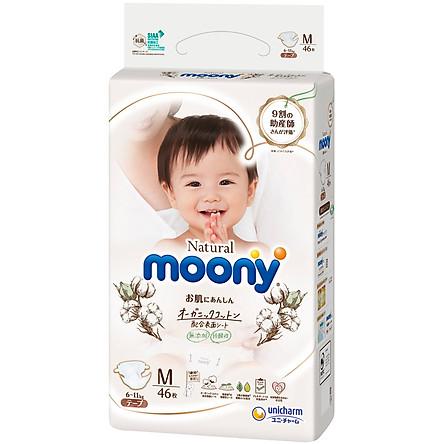 Tã Dán Moony Natural Bông Organic M46 (46 Miếng)