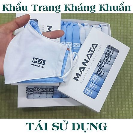[COMBO 5 Chiếc] Khẩu Trang Vải Cao Cấp Màu Trắng/Xanh - Sử dụng được 20 lần giặt