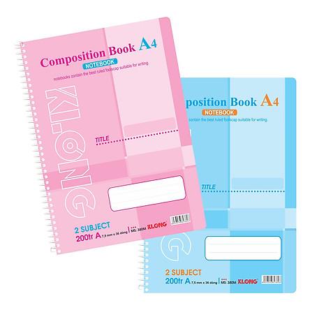 Lốc 2 Sổ Lò Xo Đơn Klong A4 - 2 Subject MS 380N (200 Trang)
