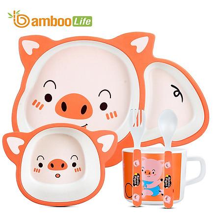 Bộ khay ăn dặm cho bé từ sợi tre Bamboo Life hàng chính hãng Bộ chén bát ăn dặm Đồ dùng ăn dặm cho bé BL035