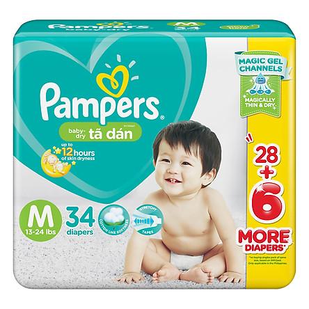 Tã Dán Pampers Baby Dry Gói Đại M34/XL26 - Size M