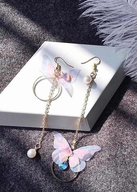 Khuyên tai cánh bướm hạt tròn bông tai trang sức phụ kiện nữ  tặng ảnh thiết kế Vcone