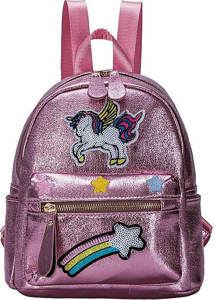 Balo Hologram mini chất da dày nhẹ trang trí hình unicorn và cầu vồng size 23x26x15 BL006