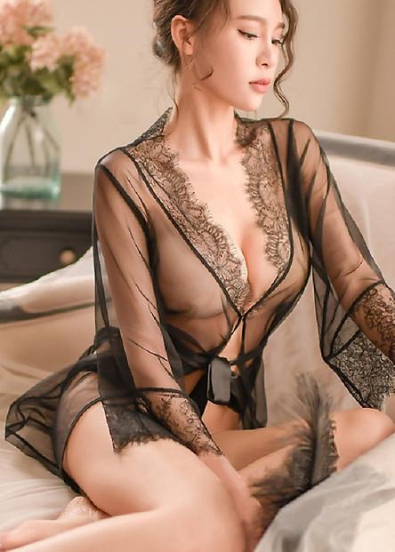 Váy Ngủ Voan Mỏng Viền Hoa Kèm Chip