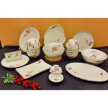 Bộ bát đĩa ăn sứ Bát Tràng, hoạ tiết hoa đào