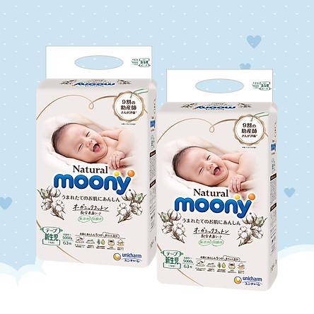 [COMBO 2 BỊCH] Bỉm Dán Moony natural Newborn 63 miếng