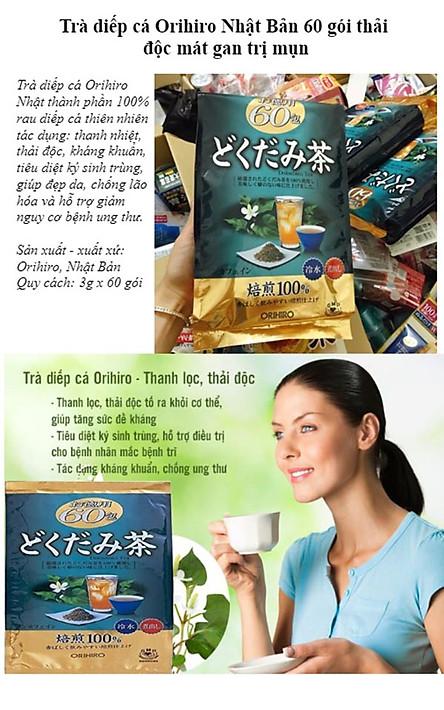Combo 3 Túi Trà diếp cá mát gan, giải độc Orihiro gói 60 túi Nhật Bản