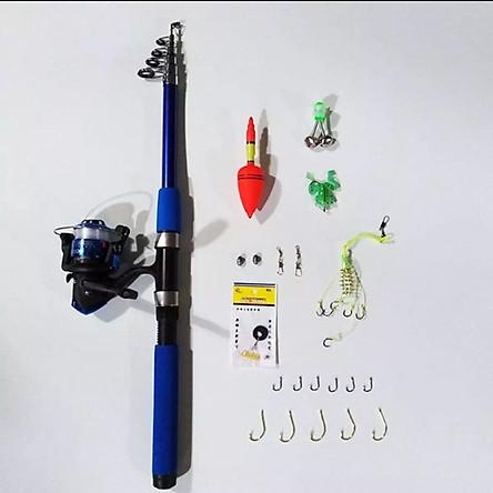 Bộ cần câu rút cacbon + máy câu cá + dây + bộ phao lưỡi và set phụ kiện