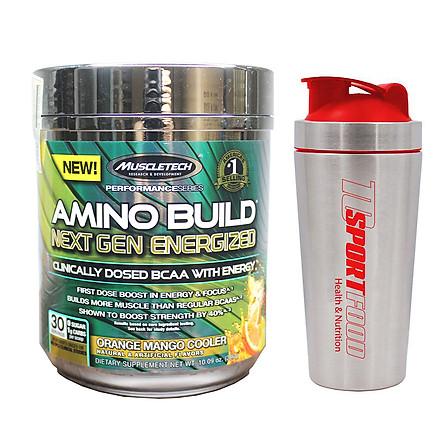Combo BCAA Amino Build Next gen hương Orange Mango Cooler (Cam Xoài) của Muscle Tech hộp 30 lần dùng hỗ trợ phục hồi cơ, chống dị hóa cơ, tăng sức bền sức mạnh vượt trội, đốt mỡ, giảm cân, giảm mỡ bụng mạnh mẽ cho người tập thể thao & Bình lắc INOX 739ml (Mẫu ngẫu nhiên)