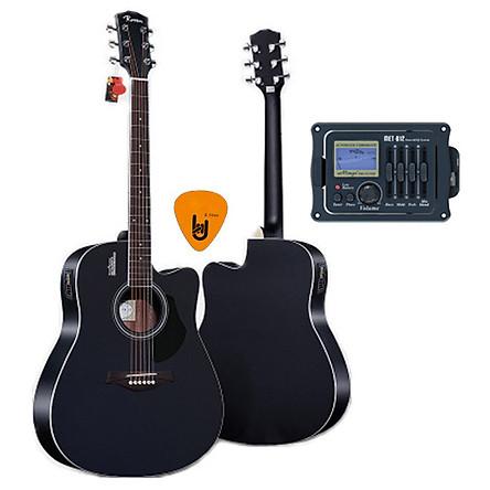 [Gắn EQ] Đàn Guitar Acoustic Rosen G11 Màu Đen Dáng D Và EQ Mings AGA MET-B12 (Đàn đã gắn sẵn EQ) - Chính Hãng - Kèm móng gẩy DreamMaker